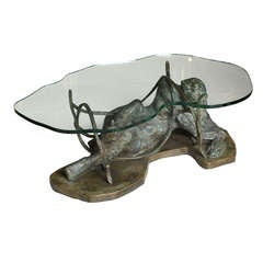 Unique Philip and Kelvin LaVerne Bronze and Glass Low Table