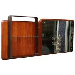 Fine Italian Mahogany Mirror/Shelf, Circle of Gio Ponti