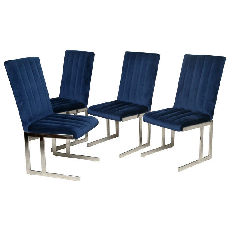 Four Milo Baughman for Directional Polished Chrome Dining Chairs