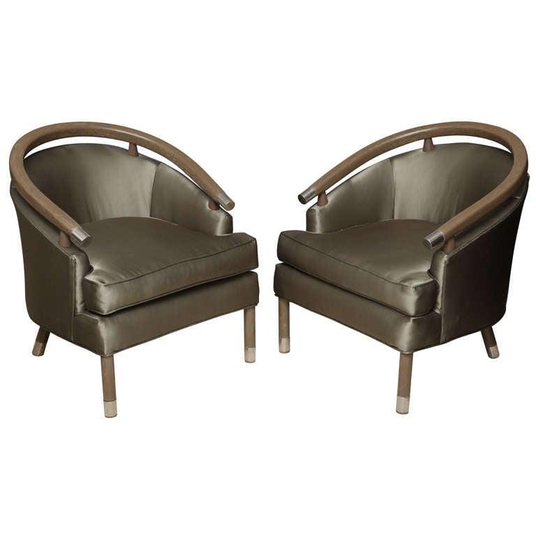 Pair of Romweber Limed Oak Club Chairs