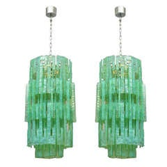 Pair of Mazzega Glass Chandeliers, Italy, 1960s