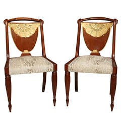 A Set of 4 Art Deco side chairs by Pierre Lahalle, France