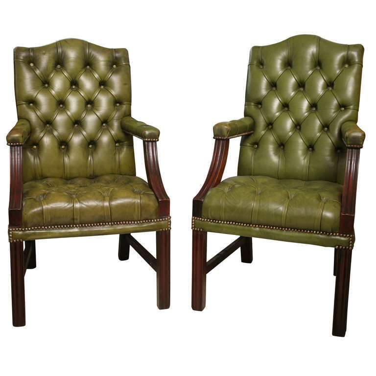 Set of Six George III Style Leather Covered Armchairs