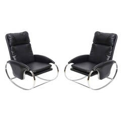 Pair of Italian Chromed and Leather Rockers by Guido Faleschini