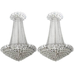 Imposing Pair of Crystal and Chrome Chandeliers