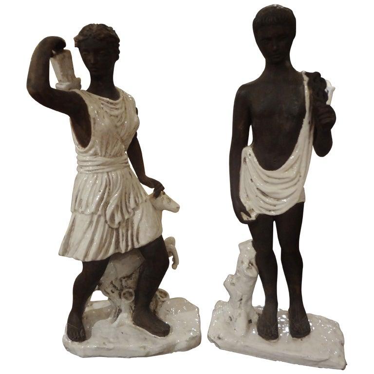 Pair of Italian Classical Greek Inspired Figural Ceramic Stautes For Sale