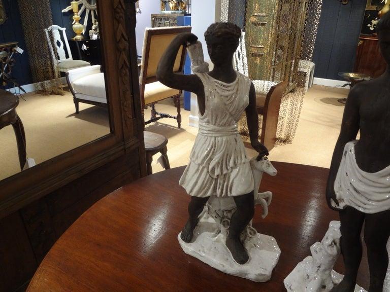 Great pair of Greek inspired Italian ceramic statues inspired by Gambone, Bitossi and Raymor.