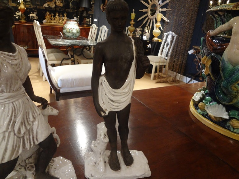 Pair of Italian Classical Greek Inspired Figural Ceramic Stautes In Good Condition For Sale In Houston, TX