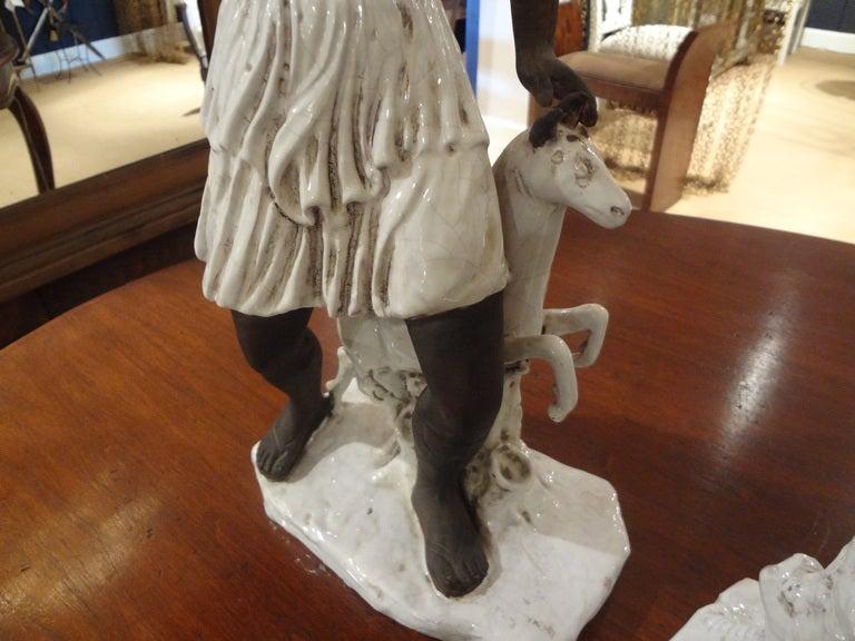 Mid-20th Century Pair of Italian Classical Greek Inspired Figural Ceramic Stautes For Sale
