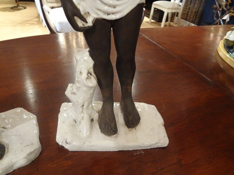 Pair of Italian Classical Greek Inspired Figural Ceramic Stautes For Sale 1