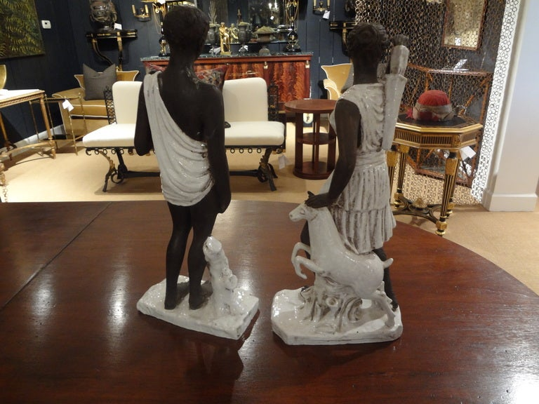 Pair of Italian Classical Greek Inspired Figural Ceramic Stautes For Sale 2