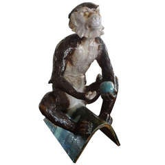 Rare Antique French Tin Glazed Terra Cotta Monkey By Filmont