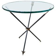 Italian Mid Century Gio Ponti Style Iron And Bronze Arrow Table