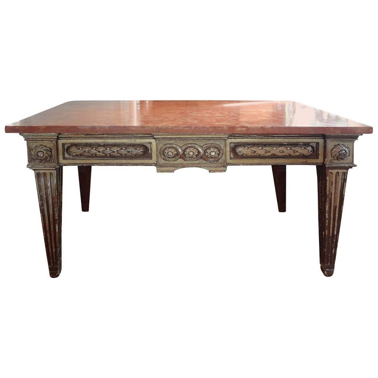 17th Century Italian Gilt Wood Console Table With Marble Top