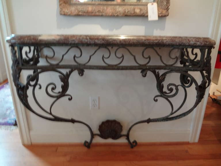Régence Antique French Regence Wrought Iron Console Table with Marble Top For Sale