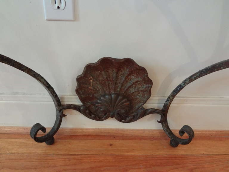 Antique French Regence Wrought Iron Console Table with Marble Top In Good Condition For Sale In Houston, TX