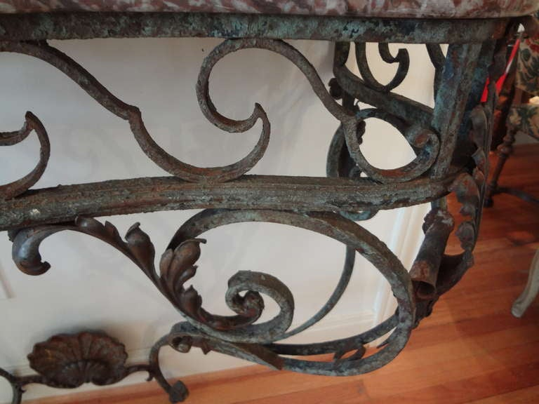 19th Century Antique French Regence Wrought Iron Console Table with Marble Top For Sale