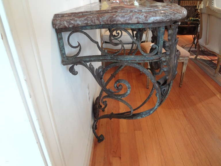 Antique French Regence Wrought Iron Console Table with Marble Top For Sale 1