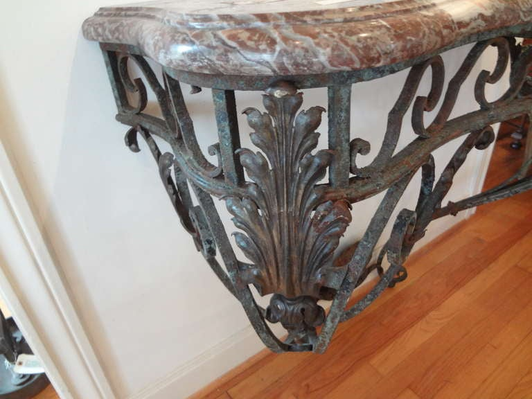 Antique French Regence Wrought Iron Console Table with Marble Top For Sale 3