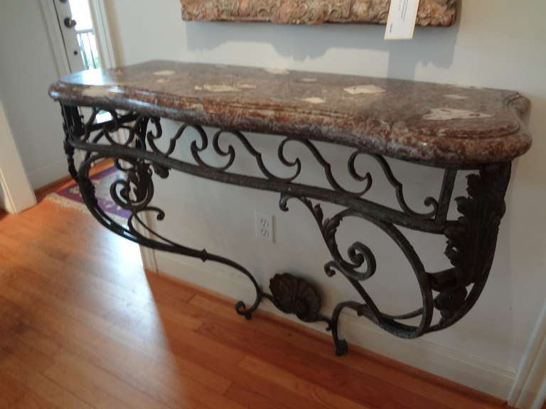 Antique French Regence Wrought Iron Console Table with Marble Top For Sale 4