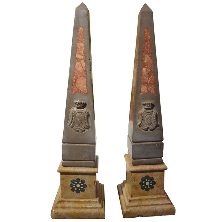 Pair of 19th Century Italian Neoclassical Style Marble Obelisks