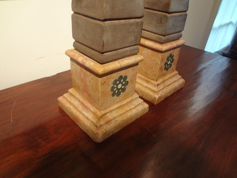 Pair of 19th Century Italian Neoclassical Style Marble Obelisks For Sale 3