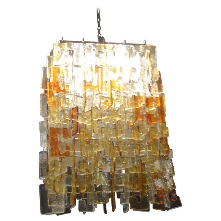 Large Murano Chandelier Of Multicolored Interlocking Glass By Mazzega