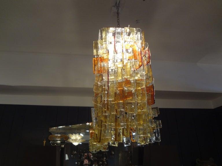 Mid-Century Modern Large Multicolored Murano Glass Chandelier, Carlo Nason for Mazzega For Sale