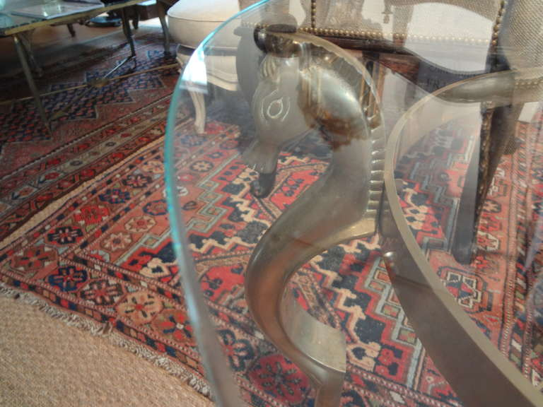 Round Italian Brass Table With Seahorse Supports And Glass Top For Sale 1