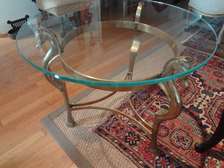 Round Italian Brass Table With Seahorse Supports And Glass Top For Sale 2