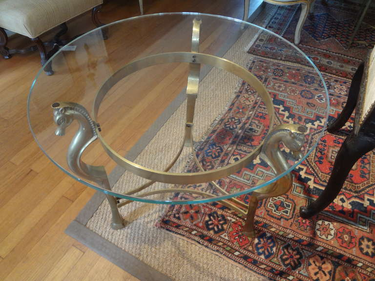 Round Italian Brass Table With Seahorse Supports And Glass Top For Sale 3