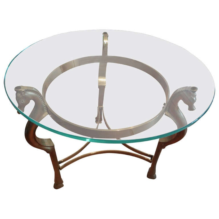 Round Italian Brass Table With Seahorse Head Supports And Glass Top 1
