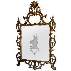 Antique Venetian Gilt Wood Etched Mirror