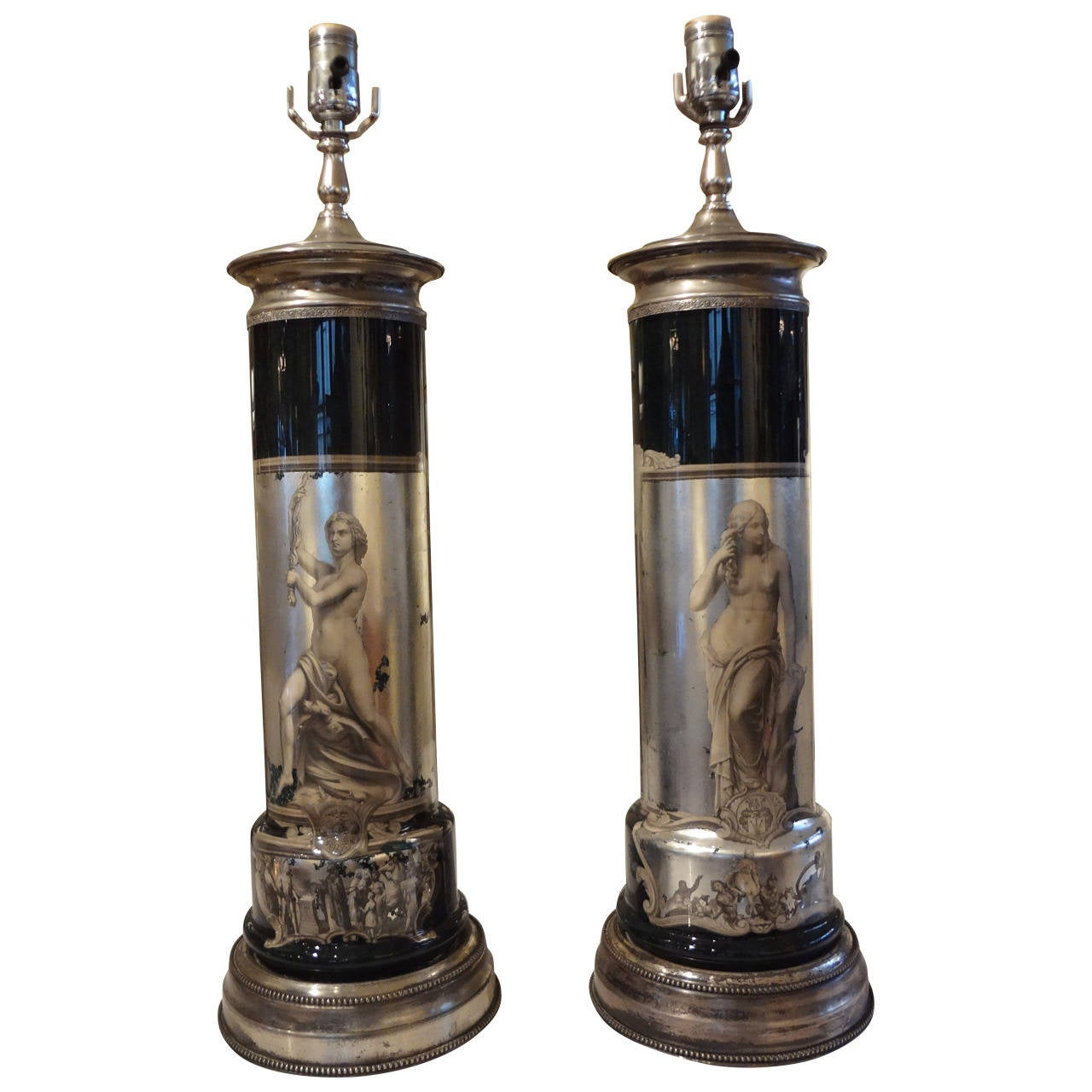 Pair of Italian Neoclassical Fornasetti Style Églomisé Lamps-SATURDAY SALE