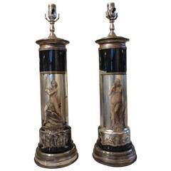 Pair of Italian Neoclassical Fornasetti Style Églomisé Lamps