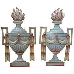 Pair Of Italian Neoclassical Style Paint Decorated Tole Urns