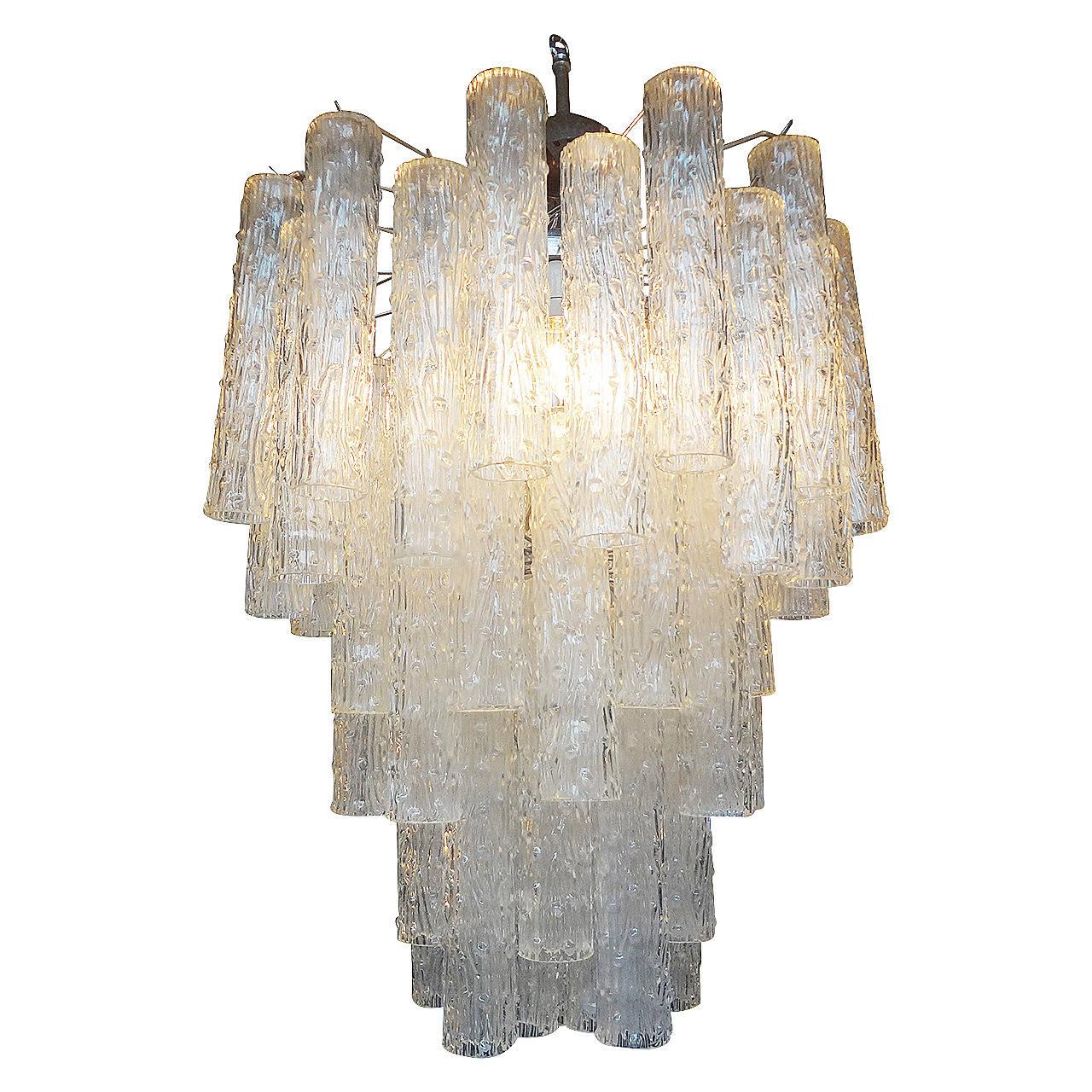Mid-Century Venini Style Italian Murano Glass Tronchi Chandelier