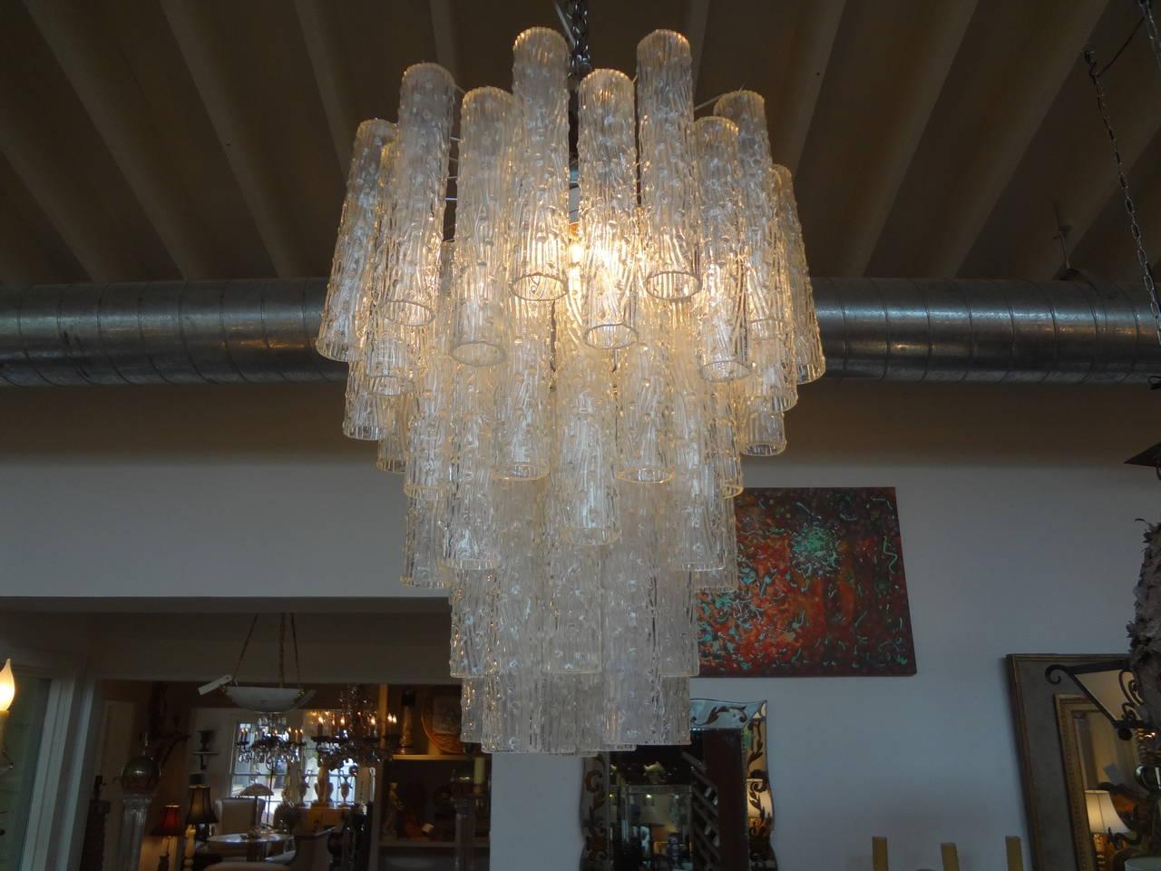 Mid-Century Modern Midcentury Venini Style Italian Murano Glass Tronchi Chandelier For Sale