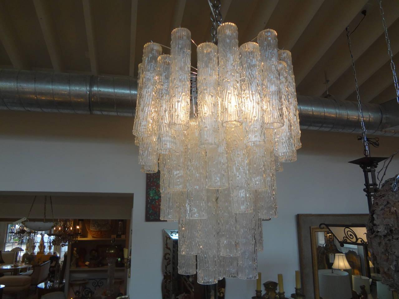 Midcentury Venini Style Italian Murano Glass Tronchi Chandelier In Good Condition For Sale In Houston, TX