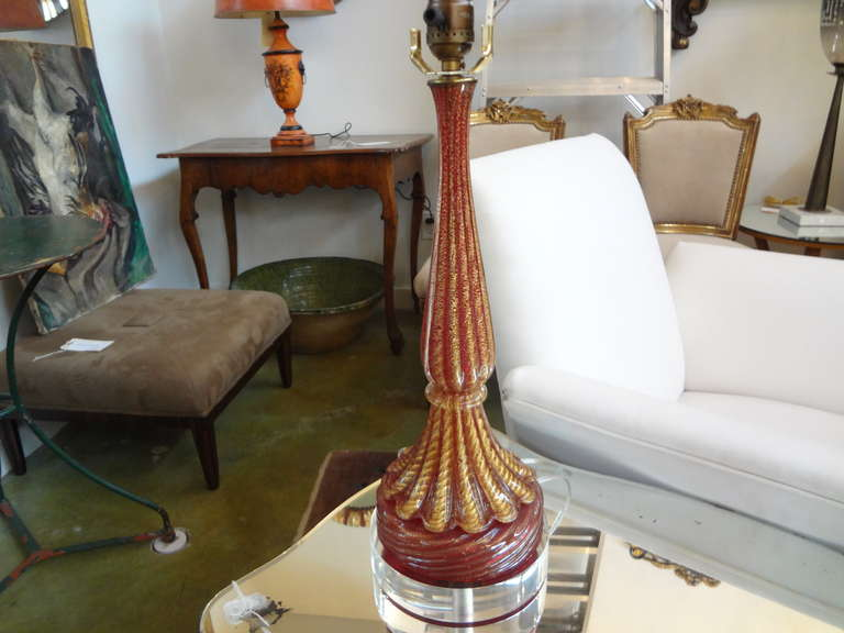 Mid-20th Century Midcentury Murano Glass Lamp by Seguso For Sale