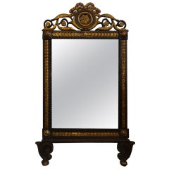 19th Century Italian Black And Gilt Wood Mirror