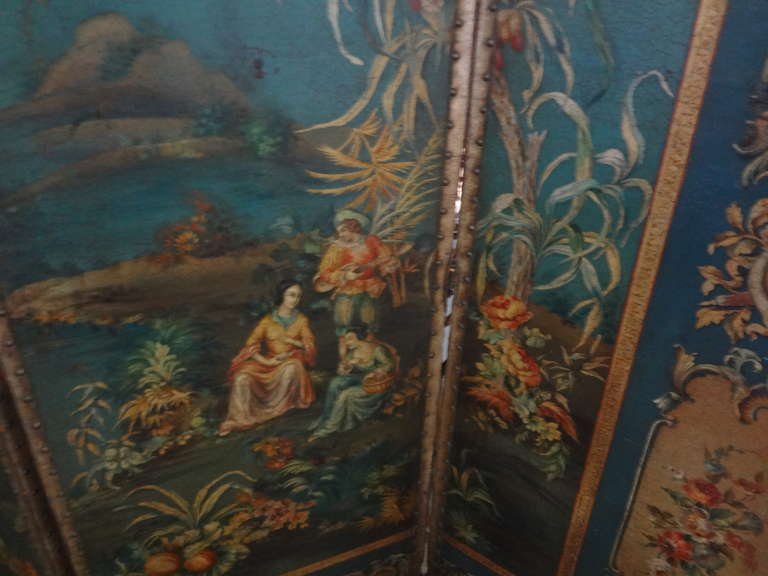 Antique Italian 4 Panel Leather Chinoiserie Screen Or Room Divider In Good Condition For Sale In Houston, TX