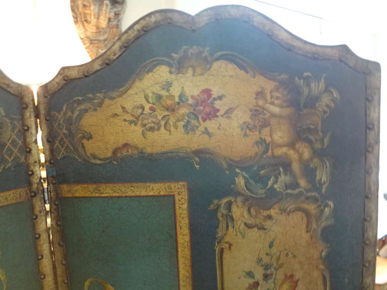 20th Century  Antique Italian 4 Panel Leather Chinoiserie Screen Or Room Divider For Sale