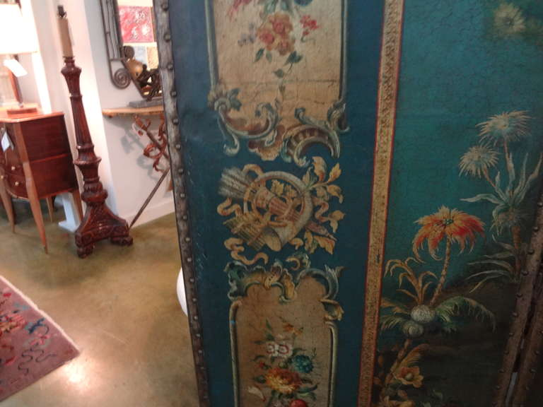 Antique Italian 4 Panel Leather Chinoiserie Screen Or Room Divider For Sale 2