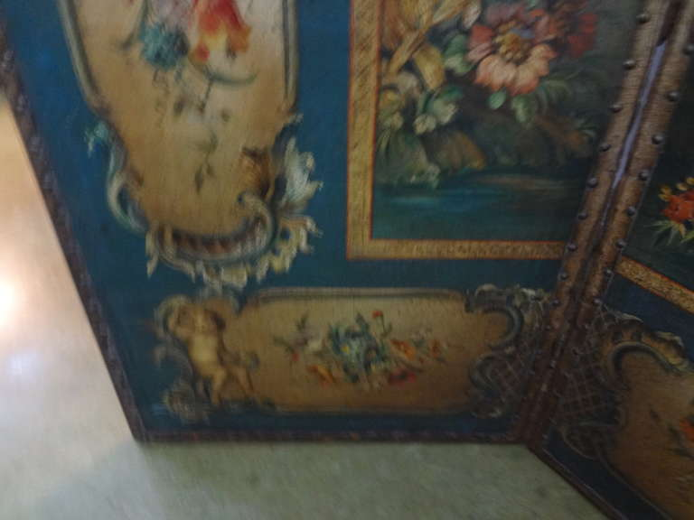 Antique Italian 4 Panel Leather Chinoiserie Screen Or Room Divider For Sale 3