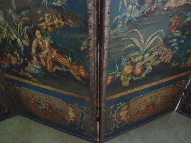 Antique Italian 4 Panel Leather Chinoiserie Screen Or Room Divider For Sale 4