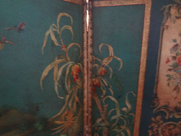 Antique Italian 4 Panel Leather Chinoiserie Screen Or Room Divider For Sale 5