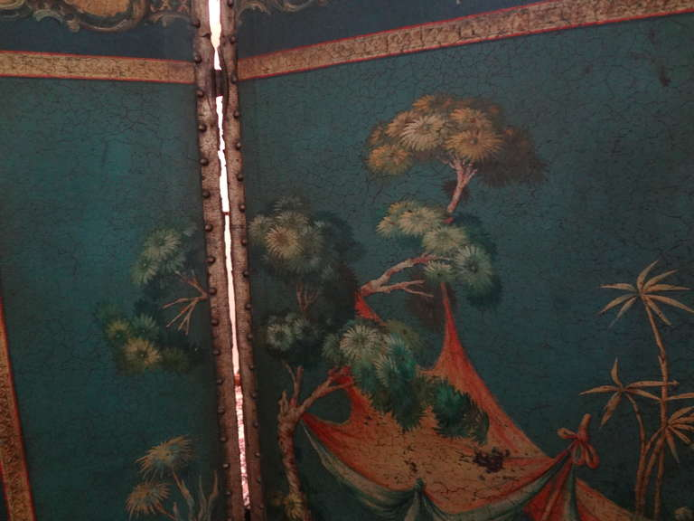 Antique Italian 4 Panel Leather Chinoiserie Screen Or Room Divider For Sale 6