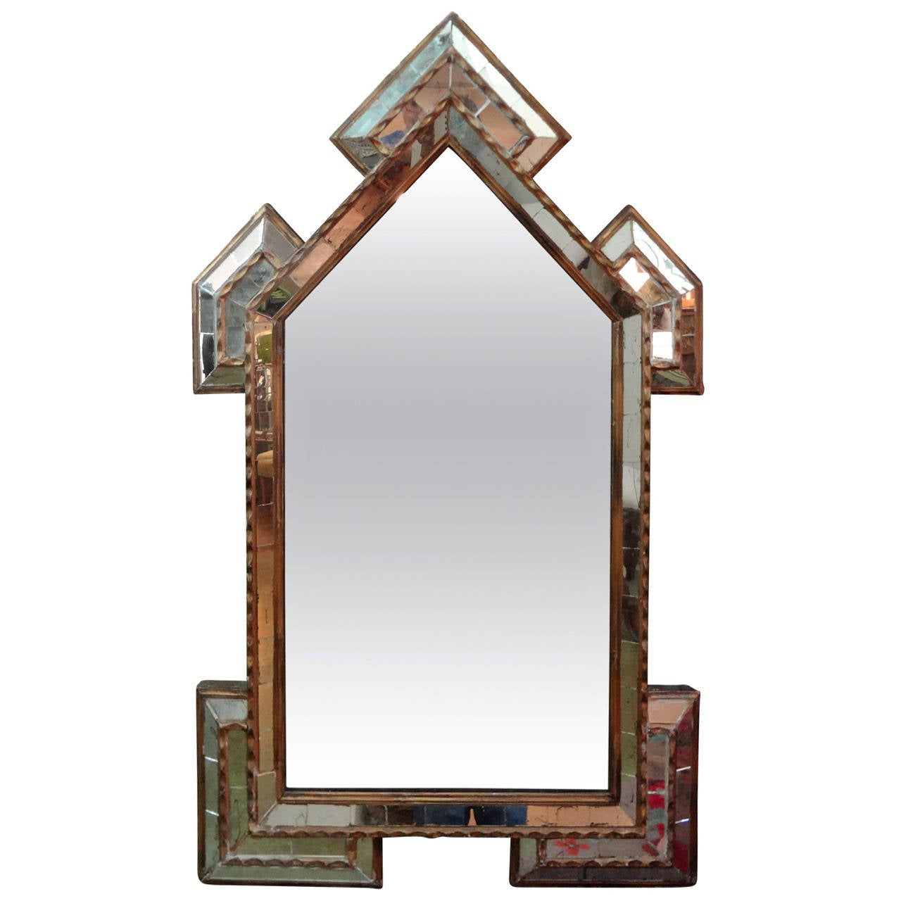 Unusually Shaped Antique Italian Gilt Wood Mirror With