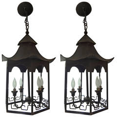 Pair of Pagoda Shape Iron Lanterns